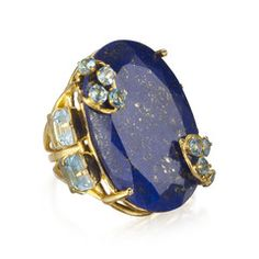 Ring with Lapiz and Blue Topaz
