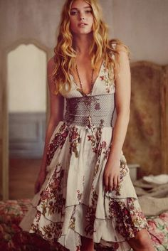 summer, dress, floral, boho, indie, gypsy, style, fashion, love, free people, anthropology, spring, ruffles
