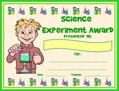 science experiment award you can find this printable award and many other awards and certificates for science teachers on unique teaching resources