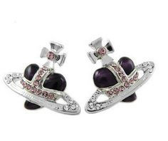 Vivienne Westwood Diamante Heart Stud Earrings Purple £25.47,69% off,our store offer top quality and good price vivienne westwood.