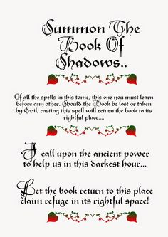 Summon The Book of Shadows Witchcraft Spell Books, Witch Spell Book, Magic Spell Book, Wiccan Books, Magick Spells, White Magic Spells, Wiccan Magic, Demon Summoning Spells, Witchcraft Spells For Beginners