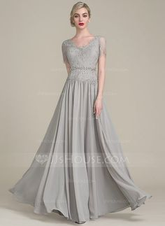 [US$ 144.99] A-Line/Princess V-neck Floor-Length Chiffon Lace Mother of the Bride Dress With Beading Sequins (008102682)