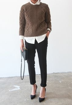 Wearing black & white outfit with knits over it