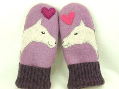 Felted Wool Mittens Horse Recycled Wool Mittens by ForMyDarling, $36.00