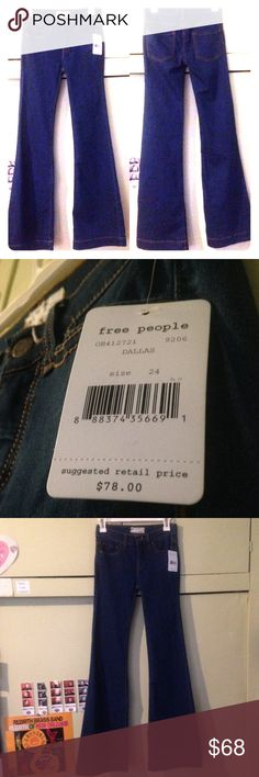 Temp-PriceDrop Free People wide leg Jeans New w/Tags FREE PEOPLE Sleek Dark Denim blue jeans with a flared leg. Zip fly & Button closure. Five pocket styling. Size 24. Free People Jeans Flare & Wide Leg