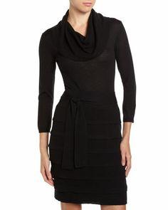 Miriam Tiered Skirt Wool Dress, Black by BCBGMAXAZRIA at Neiman Marcus Last Call.