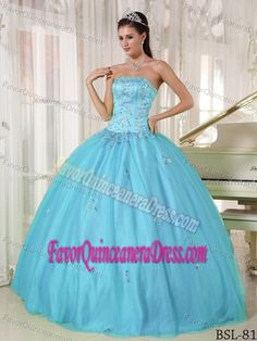 Cheap Strapless Dress for Quinceanera with Appliques in Taffeta and Tulle