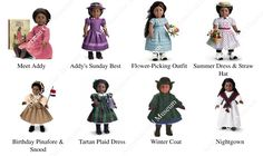 American Girl Museum Addy's Collection American Girl Doll Sets, American Doll Clothes, American Girls, Historical Costume, Historical Clothing, Doll Clothes Patterns, Clothing Patterns, Happy Birthday Paul, Summer Dress Outfits