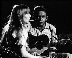 Joni Mitchell and Johnny Cash photographed by Graham Nash