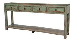 Reclaimed wood console table by Terra Nova Designs Los Angeles