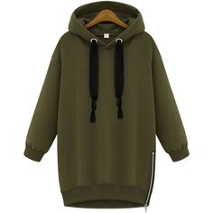 SheIn(sheinside) Green Hooded Long Sleeve Zipper Loose Sweatshirt (490.255 VND) ❤ liked on Polyvore featuring tops, hoodies, sweatshirts, sweaters, sweatshirt, outerwear, green, pullover sweatshirt, zipper hoodie and pullover hoodies