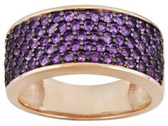 Stratify (Tm) 1.18ctw Round African Amethyst 18k Rose Gold Over Sterling Silver Ring