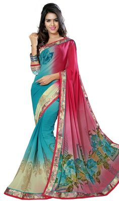 Be the sunshine of everyone's eyes dressed with this beige, cyan blue and pink color printed faux georgette sari. The desirable block print and lace work a significant characteristic of this attire. Upon request we can make round front/back neck and short 6 inches sleeves regular saree blouse also. #AmazingPinkAndTurquiseGeorgetteSari