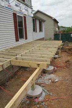 Porch foundation under construction Mobile Home Porch, Mobile Home Living, Porch Repair, Front Porch Addition, Mobile Home Repair, Building A Porch, Remodeling Mobile Homes, Deck With Pergola, Decks And Porches
