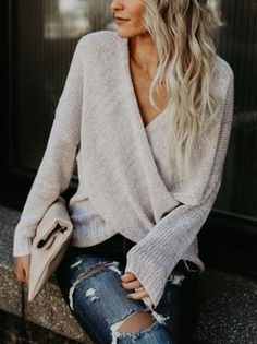 Image result for chicnico simple casual v neck front cross weekend sweater top
