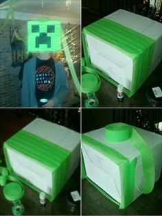 Home made Minecraft pinata, took a little while but very easy to make.