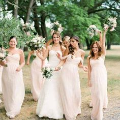 wedding bouquet and bridesmaids  blush flowers and fuller designs