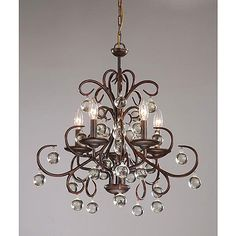 Wrought iron and crystal 5 light chandelier dining room wrought iron and crystal 5 light chandelier brown aloadofball Choice Image
