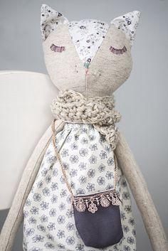 Cat Doll in Floral Dress Large Stuffed ToyLinen Toy от Kotakura