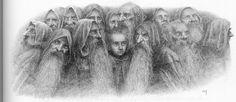 Dibujo de los 13 con Bilbo en medio - Alan Lee