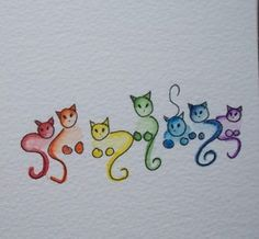 Rainbow cats.  This would be a cute tattoo for females!  Not the standard butterflies, birds, flowers, rainbows, hearts, lady bugs etc . . . Not overly cutesy either. Yoshi, Kittens, Dibujo, Penmanship, Beautiful Pictures, Draw, Nice Asses, Creative, Kitty Cats