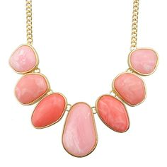 Hotpink Big Stone Statement Female Necklace ($8.17) ❤ liked on Polyvore featuring jewelry, necklaces, stone jewelry, stone jewellery and stone necklace