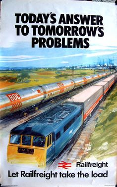 BRITISH TRAIN POSTERS -BR TANK TRAIN RAILFREIGHT by Hansten. CLASSIC ART ORIGINAL POSTER JUL16
