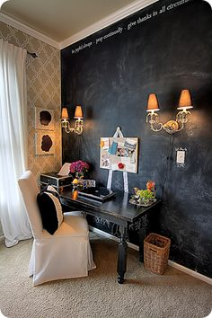Home office  love that grey wallpaper and table.chalkboard wall bonus