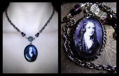 Mary Shelley Necklace purple and black by RosebloodandMothdust