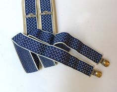 Vintage retro Windsor blue and white zigzag stretch fabric mens clip on braces or garters - pinned by pin4etsy.com