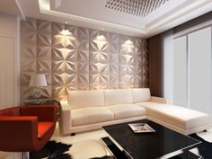 Leather wall tiles wallpaper in living room. Decorative Wall Panels, 3d Wall Panels, Interior Walls, Home Interior Design, Wall Panel Design, Leather Wall, Tile Wallpaper, Wall Tiles, Modern Furniture