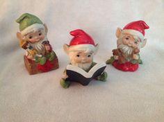 Vintage Homco ceramic Christmas elves Santa's helpers pottery figurines