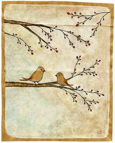 art, bird, branch, cute, drawing