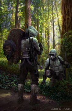 star wars 2013 painting | Ewok Hunt - Star Wars by ~ AldoK