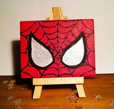 Spiderman Stare  Mini Canvas by TreacleTownTreasures on Etsy