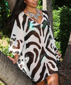 Look what I found on #zulily! Black & White Animal Sidetail Tunic by La Moda Clothing #zulilyfinds