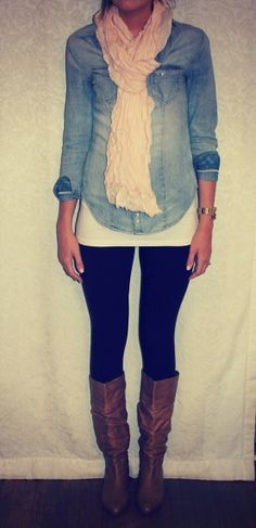 Chambray shirt, black leggings, gold watch, brown boots, and a scarf