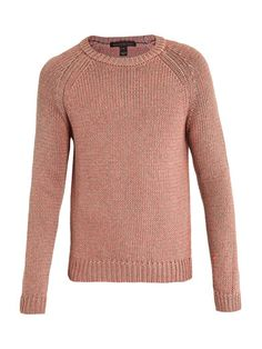 Marc by Marc Jacobs Gary sweater  Pink and neon-orange cotton-blend sweater with a crew neck, ribbed neckline, hem and cuffs. Update your knitwear with the distinctive cool edge of this Marc by Marc Jacobs sweater, a fresh and original approach to dressing.