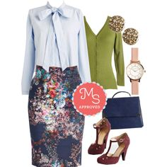 In this outfit: Brilliant Blogger Skirt, Ready, Set, Break Room Top, Charter School Cardigan in Sage, Lobe Trotter Earrings, Timekeep It Up Watch, Elegant Education Bag, The Zest is History Heel #fashion #workwear #floral #chic #outfits #ModCloth #ModStylist