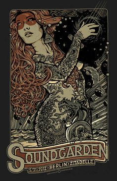find singles illustrations-poster/soundgarden-gig-poster-by-lars-krause/ people TS Anabel Gig Poster, Metallica, Concert Rock, Musik Illustration, Arte Steampunk, Plakat Design, Kunst Poster, Tour Posters, Retro Posters