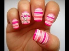 Breast Cancer Awareness Nail Art - Think Pink check out www.ThePolishObsessed.com for more nail art ideas.