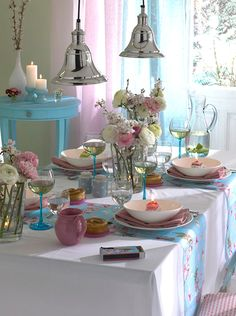 pretty spring table decoration