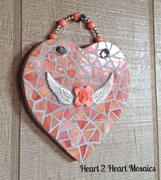 Peachy Salmon Angel Wing Heart Mosaic by Heart2HeartMosaics  | Heart Mosaic | Mosaic Heart | #heartmosaic #heart2heart heart mosaics,