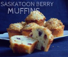 Saskatoon Berry Muffins can be served as a wonderful Canadian Dessert to enjoy with your coffee or tea. Saskatoon Recipes, Saskatoon Berry Recipe, No Bake Desserts, Just Desserts, Delicious Desserts, Dessert Recipes, Berry Muffins, Lemon Muffins, Muffin Recipes