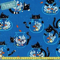 Cats and Fishbowls Blue - show me everything - By theme - FABRIC