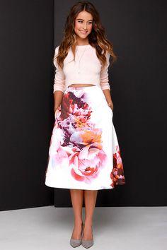 Keepsake Night After Night Ivory Floral Print Midi Skirt