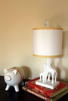 "Cute idea- I love my Jonathan Adler Giraffe Lamp. But if you really cannot splurge and want a monochromatic ""Giraffe"" lamp, try this look for much less: Menard's Lamp spray painted. Elephant Nursery Girl, Safari Nursery, Girl Nursery, Modern Mantle, Giraffe Lamp, Nursery Inspiration, Nursery Ideas, Jonathan Adler, Nursery Design"