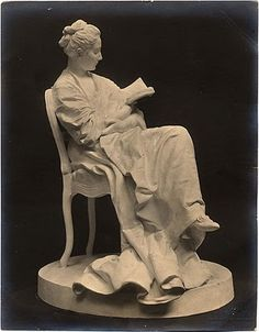 The Reader,plaster statuette  by Jules Dalou,ca 1871-79,Petit Palais Museum Collection,Paris  Terracotta