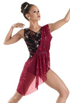 Sequin Draped Overdress Biketard -Weissman Costume. like this for wed teens ballet.
