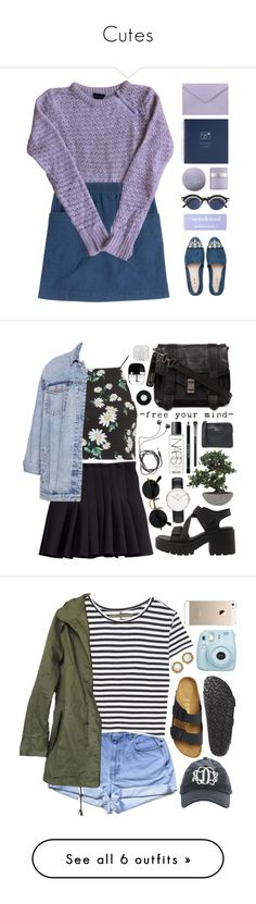 """""""Cutes"""" by eric2950 ❤ liked on Polyvore featuring Topshop, Miu Miu, A.P.C., claire's, Pineider, Kate Somerville, Matsuda, Spring, purple and denim"""